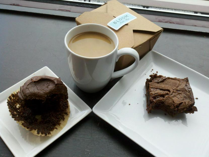 Yes, that cupcake and brownie are half-eaten ... please forgive us for wanting to enjoy our treats! The coffee is a custom Bloom Bake Shop blend from Just Coffee.