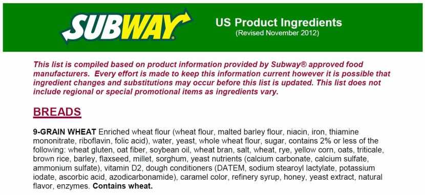For the PDF of Subway's full ingredient list, click the photo.